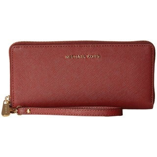 Michael Kors Jet Set Travel Brick Red Leather Continental Wallet