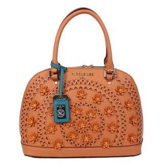 Nicole Lee Farley Natural Flowery Dome Satchel Handbag
