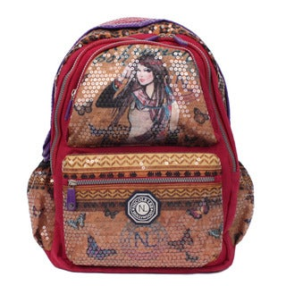 Nicole Lee Hailee Trinity Multicolor Nylon Sequined Laptop Backpack