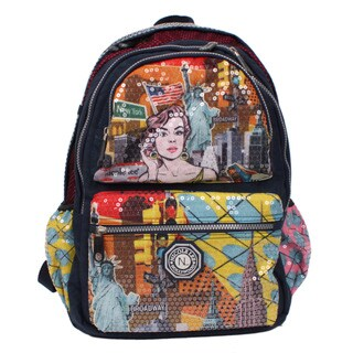 Nicole Lee Hailee Donna Multicolor Nylon Sequined Laptop Backpack