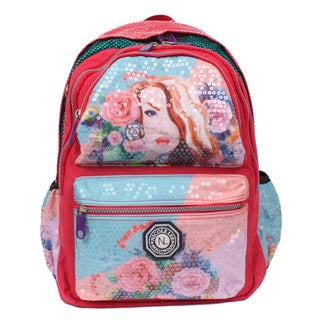 Nicole Lee Hailee Gemma Sequined Wrinkle Resistent Crinkled Nylon Laptop Backpack