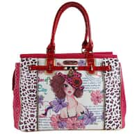 Nicole Lee Sunny White Print Nylon/Faux Leather 21-inch Overnighter Laptop Tote Bag