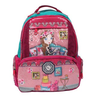 Nicole Lee Hailee Iris Multicolored Crinkled Nylon Sequined Laptop Backpack