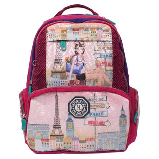 Nicole Lee Hailee Chloe Multicolored Crinkled Nylon Sequined Wrinkle-resistant Laptop Backpack