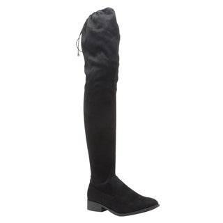 Qupid Women's FE49 Black Fauz-suede Drawstring Stretchy Over-the-knee Low Block-heel Boots