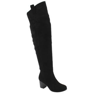 NATURE BREEZE FE34 Women's Over The Knee Elastic Block Heel Boot