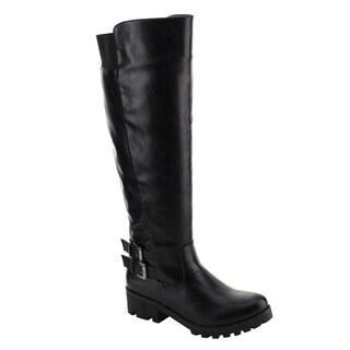 Nature Breeze Women's FE39 Knee-high Buckle-strap Elastic Block-heel Boots