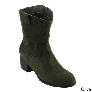NATURE BREEZE FE32 Women Mid-calf Slouch Chunky Block Heel Boots Full Size Small
