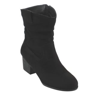 Nature Breeze Women's FE32 Faux-suede Mid-calf Slouch Side-zip Chunky Block -heel Boots