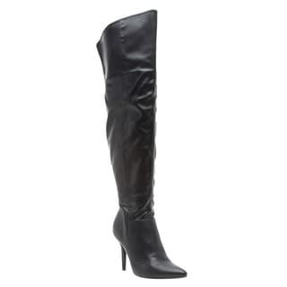 QUPID Women's FE47 Sexy Over-the-knee Stiletto High-heel Dress Boots