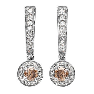 18k Gold 1/2ct TDW Round Champagne and White Diamond Drop Earrings (H-I, I1-I2)