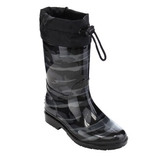 Jelly Beans GE88 Unisex Black Rubber Camouflage Bungee Mid-calf Rain Boots