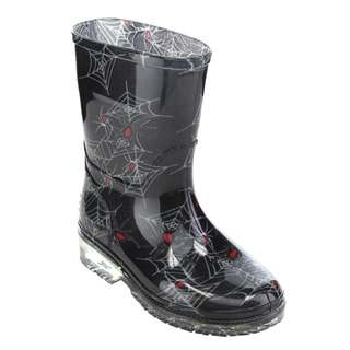 Jelly Beans Unisex Toddlers Black PVC Spider Web Print Pull-on Clear Heel Rain Boot