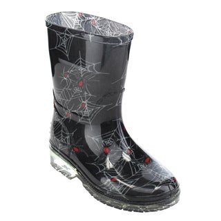 Jelly Beans GE86 Unisex Black Rubber Pull-on Rain Boots