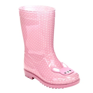 Jelly Beans Girls' GE79 Pink PVC Pull-on Polka-dot Low-heel Rain Boots