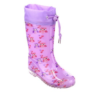 Jelly Beans Girls' GE78 Purple Rubber Bungee-tie Owl Print Rain Boots