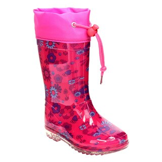 Jelly Beans GE72 Girls' Floral-print Bungee-tie Clear Sole Low Heel Rain Boots