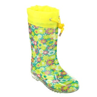 Jelly Beans Girls' GE69 Rubber Floral Print Bungee-tie Clear Sole Rain Boots
