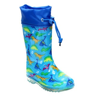 Jelly Beans GE63 Kid's Blue Dinosaur Print Rubber Bungee-tie Mid-calf Rain Boots