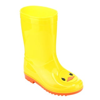 Jelly Beans Girls' GE61 Yellow PVC Duck-pattern Mid-calf Pull-on Fashion Rain Boots