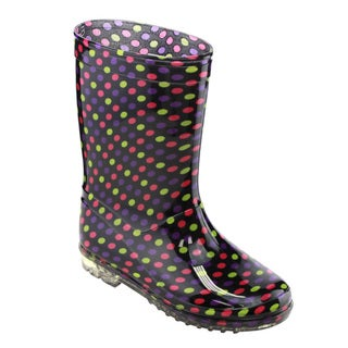 Jelly Beans Girls' GE60 Multicolored PVC Mid-calf Design Dots-print Clear-sole Rain Boots