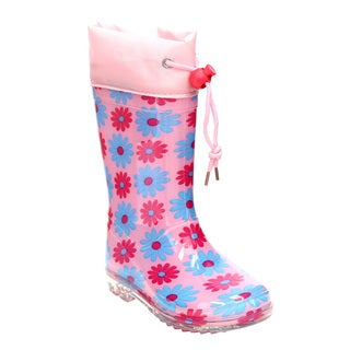 Jelly Beants Girls Bungee Tie Floral Print Clear Sole Mid-calf Rain Boots