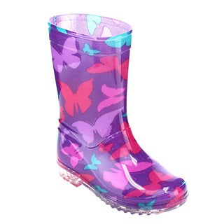 Jelly Beans Girls GE55 Purple PVC Butterfly-pattern Pull-on Mid-calf Rain Boots