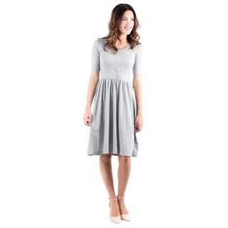 DownEast Basics Women's Falling Leaves Grey Dress