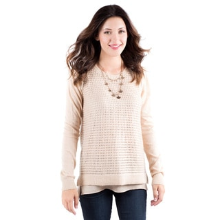 DownEast Basics Women's Taupe Layered-look Sweater
