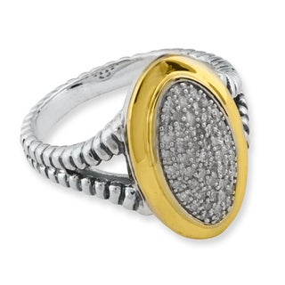 Size 7 Sterling Silver and 14k Gold Oval 1/4ct TDW Diamond Ring (I2-I3)