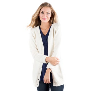 DownEast Basics Women's Rainy Day White Acrylic/Cotton Cardigan