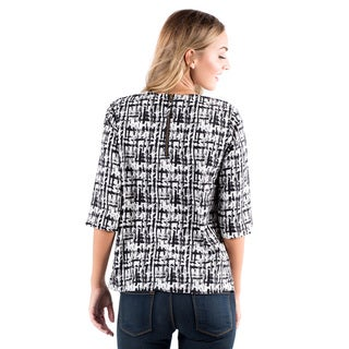 DownEast Basics Women's Sharp Shapes Multicolor Polyester Blouse