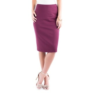 DownEast Basics Women's 'Sign Here' Fuscia Poly-blend Skirt