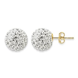 14k Yellow Gold 10.8mm Crystal Ball Post Earrings