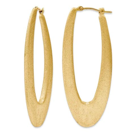Versil Gold over Silver 2-inch Elongated Satin Hoop Earrings