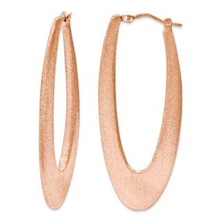 Rose Gold over Silver 2-inch Elongated Satin Hoop Earrings