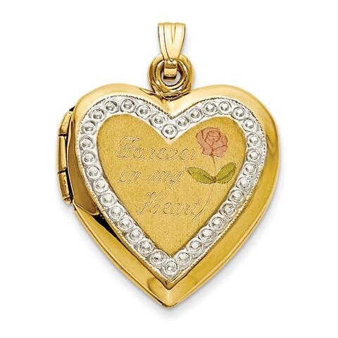 10 karat TT Gold Polished Forever in My Heart Locket Charm by Versil