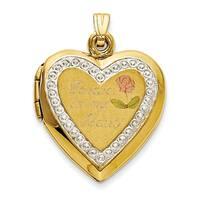 Versil 10 karat TT Gold Polished Forever in My Heart Locket Charm