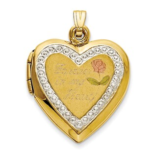 10k Two-tone Gold Polished Forever in My Heart Locket Charm