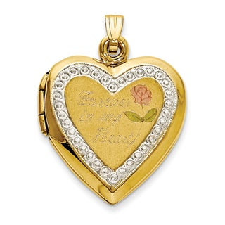 Versil 10 karat TT Gold Polished Forever in My Heart Locket Charm