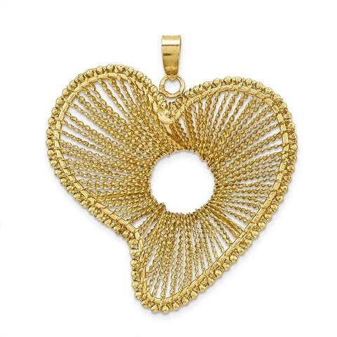 10k Yellow Gold Fancy Open Heart Circle Pendant