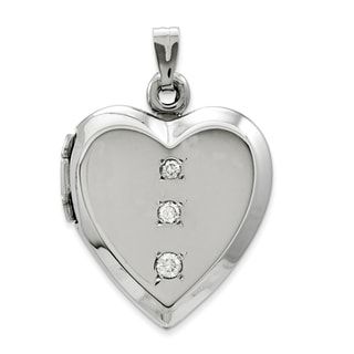 14k White Gold Polished Cubic Zirconia Heart Locket