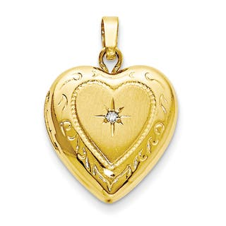 Lockets necklaces for less overstock 14 karat yellow gold polished 13mm heart locket charm aloadofball Gallery
