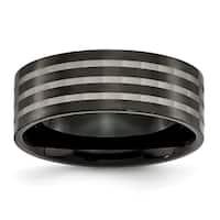 Chisel Titanium Polished 8mm Black Satin Stripes Band