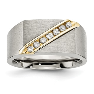 Chisel Titanium and 14k Gold Brushed Diamond Ring