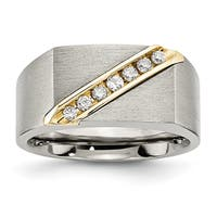 Chisel Titanium and 14 Karat Gold Brushed Diamond Ring