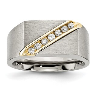 Chisel Titanium and 14 Karat Gold Brushed Diamond Ring