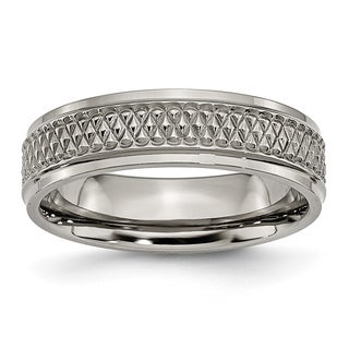 Chisel Titanium Ridged Edge Weave Design 6mm Polished Band