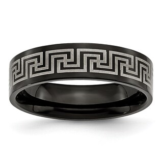 Chisel Titanium Black Greek Key Laser-etched 6mm Ring