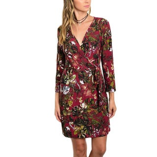 JED Women's Multicolor Polyester/Spandex Floral 3/4-sleeve Short Casual Wrap Dress